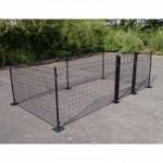 Kippenren Rectangle Zwart met voetplaten 400x200x123 cm