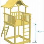 Speeltoestel Pagoda Hoog met een platform van 150cm hoog