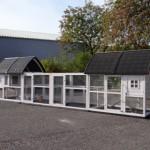 Konijnenhok Kathedraal Luxe - XL met aanbouwrennen en funderingssets