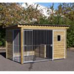 Hondenkennel Forz met geisoleerd nachthok, houtkader en raampje 343x240