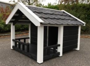 Hondenhok Reno Zwart/wit geïsoleerd met veranda 160x172x123cm