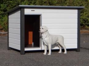 Hondenhok Loebas Wit/grijs, Geïsoleerd, met vloerverwarming 185x125x122 cm