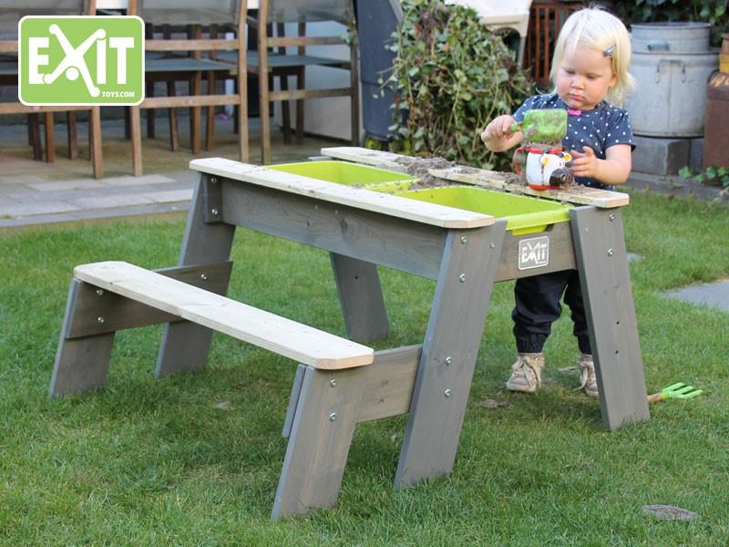 Multifunctionele Indoor Picknicktafel : Exit aksent zand water en picknicktafel deluxe