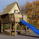Dreamhouse deluxe met een grote glijbaan van 3 meter lang.