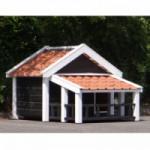 Hondenhok Snuf met veranda Zwart/Wit, geïsoleerd 205x134x143cm