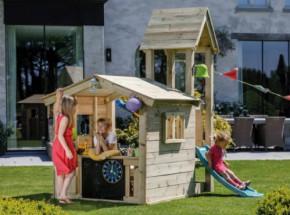Speelhuis Lookout Extra Laag met glijbaan Geïmpregneerd houtpakket, op maat gezaagd Blue Rabbit
