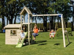 Speelhuis Lookout Laag met glijbaan en schommel Geïmpregneerd houtpakket, op maat gezaagd Blue Rabbit