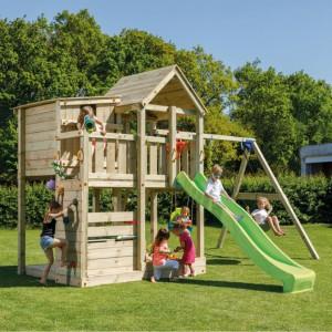 Luxe speeltoestel Palazzo van geïmpregneerd hout, met glijbaan en schommel