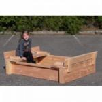 Zandbak Cubic Twist met opklapbaar zandbakdeksel Douglas hout 120x150cm