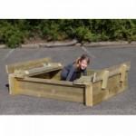 Zandbak Cubic Twist met opklapbare bankjes Geimpregneerd Vuren hout 120x150cm