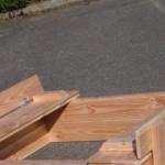 Houten zandbak Cubic met opklapbare bankjes douglas hout 120x150cm