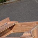 Zandbak Cubic met opklapbare bankjes Douglas hout 120x150cm