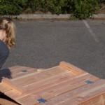 Zandbak met praktische opklapbare bankjes Douglas hout