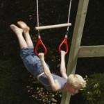 Houten ringtrapeze met kunststof ringen Rood - PH-touw