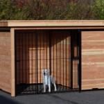 Hondenkennel FORZ zwart/Douglas met houtkader geïsoleerd nachthok en Luxe daksysteem 342x240 cm