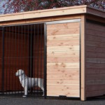 Hondenkennel FORZ zwart/Douglas met houtkader en Luxe daksysteem 342x240 cm