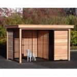 Hondenkennel FORZ zwart/Douglas met houtkader half open zijkant, nachthok en Luxe daksysteem 342x240 cm
