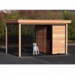 Hondenkennel FIX zwart met dak en Douglas houtkader 352x240 cm