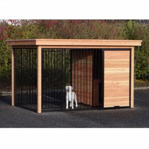 Hondenkennel FIX zwart met Douglas houtkader en nachthok 352x240 cm