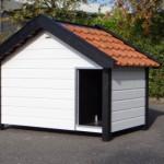 Hondenhok Turbo wit zwart met oranje dakpannen