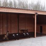 Grote hondenkennel met fraaie houtpanelen, voor meerdere honden