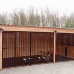 Hondenkennel Forz 2,5x6m Douglas met groot geïsoleerd nachthok, vloer en verlichting. 2,5x6 meter