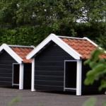 Luxe hondenhokken met dakpannen: Reno, Snuf en Turbo (van L naar R)