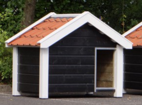 Hondenhok Reno zwart/wit geïsoleerd 160x106x123cm
