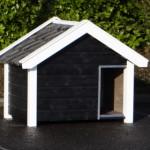 Hondenhok Reno zwart wit met donkere dakpannen
