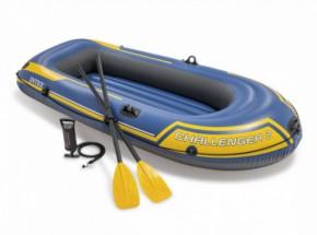 Intex opblaasboot Challenger 2 Set met peddels en pomp 236x114x41 cm