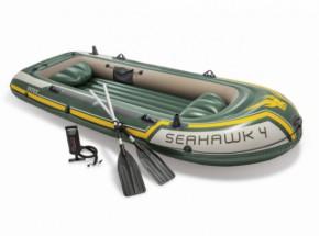 Intex opblaasboot Seahawk 4 Set met peddels en pomp 351x145x48 cm