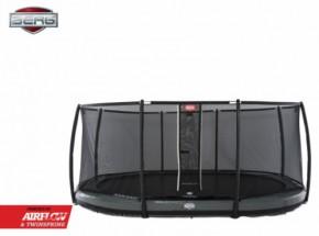 BERG InGround trampoline Grand Elite Grijs - met safetynet Deluxe 520x340cm