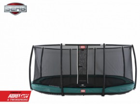 Trampoline BERG Grand Champion 350 InGround Groen - met net Deluxe 350x250cm