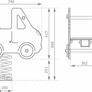 Afmetingen wipkip Takelwagen met betonanker