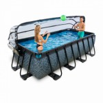 Zwembad EXIT Stone met overkapping en zandfilterpomp - grijs 400x200x100 cm