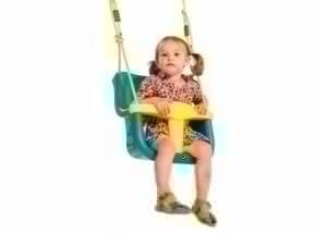 Babyschommelzitje Turquoise - met geel PP-touw