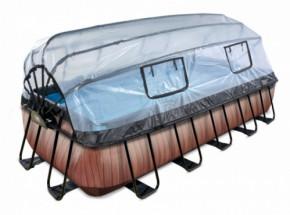 Zwembad EXIT Wood met overkapping en zandfilterpomp - bruin 540x250x100 cm