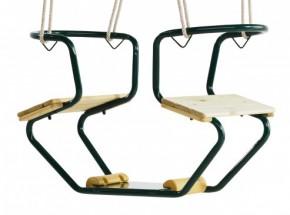 Duoschommel Club Groen - metalen 2-zits schommel met PH-touw