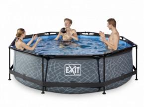Zwembad EXIT Stone met filterpomp - grijs Ø300x76 cm