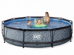 Zwembad EXIT Stone met filterpomp - grijs Ø360x76 cm