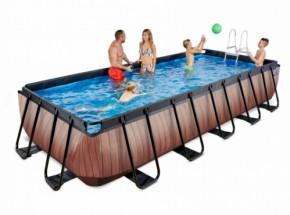 Zwembad EXIT Wood met zandfilterpomp - bruin 540x250x100 cm