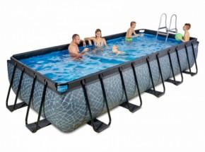 Zwembad EXIT Stone met zandfilterpomp - grijs 540x250x100 cm