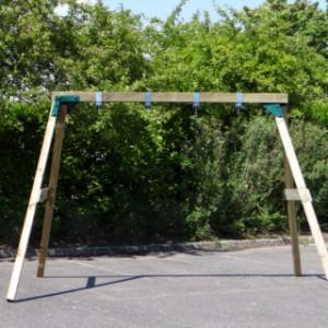 Dubbele schommel met bovenbalk van 12x12 cm