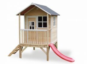 Speelhuisje EXIT Loft 300 naturel met glijbaan