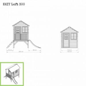 Speelhuisje EXIT Loft 300 met glijbaan - afmetingen