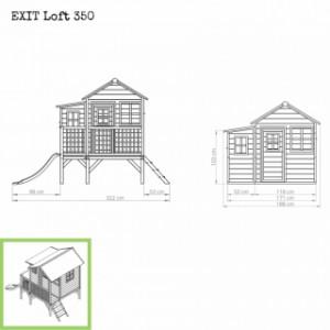 Speelhuis met glijbaan - EXIT Loft 350 - afmetingen