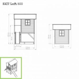 Speelhuis EXIT Loft 500 groen - afmetingen
