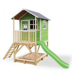Speelhuis met glijbaan en zandbak - EXIT Loft 500 groen