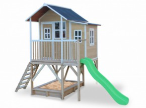 Speelhuis met glijbaan en zandbak - Exit Loft 550 naturel