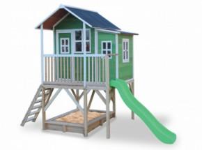 Speelhuis met glijbaan en zandbak - EXIT Loft 550 groen